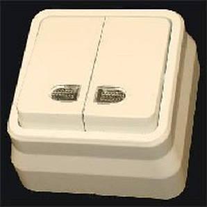 Misya выключатель 2-ой с подсветкой наружный кремовый