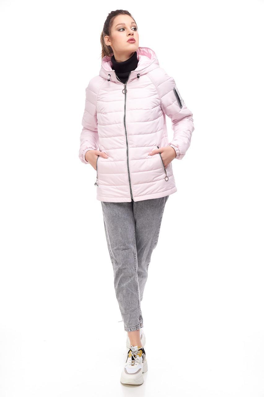 Модная женская куртка розового цвета, размер 42-50