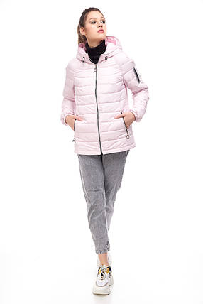 Модная женская куртка розового цвета, размер 42-50, фото 2
