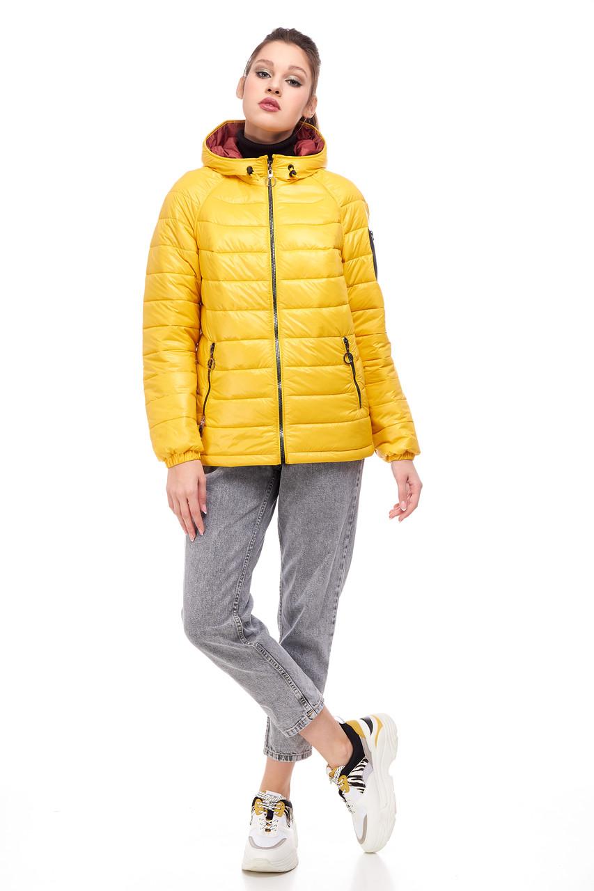 Яскрава жіноча куртка жовтого кольору, розмір 42-50