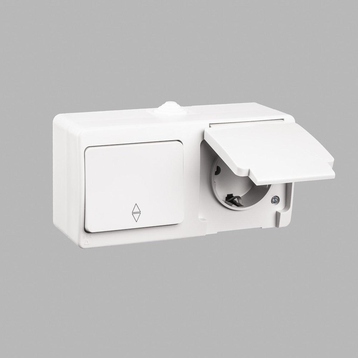 Nemli блок выключатель проходной 1-ый + розетка с заземлением влагозащищенный серый