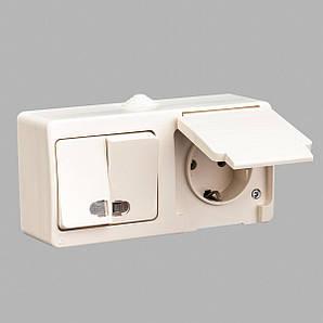 Блок выключатель двухклавишный с подсветкой + розетка с заземлением GUNSAN Nemliyer влагозащищенный Кремовый
