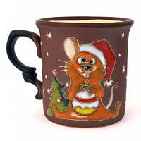 Чашка подарочная глиняная Крыса новогодняя