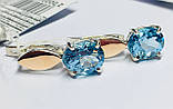 Серебряные серьги с голубым топазом и золотом Эмелина, фото 2
