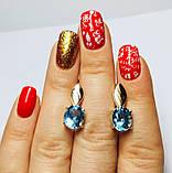 Серебряные серьги с голубым топазом и золотом Эмелина, фото 4