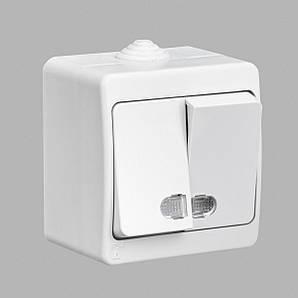 Nemli выключатель 2-ой с подсветкой влагозащищенный белый