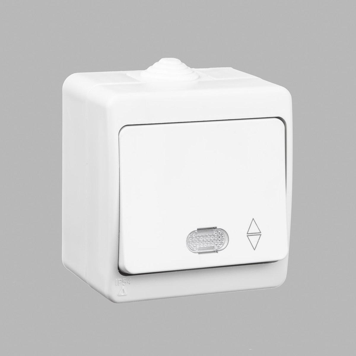 Выключатель одноклавишный GUNSAN Nemliyer проходной с подсветкой влагозащищенный Белый