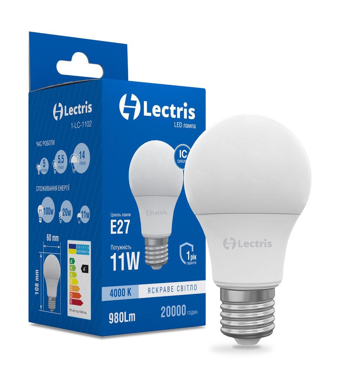 Лампа LED Lectris A60 11W 4000K 220V E27