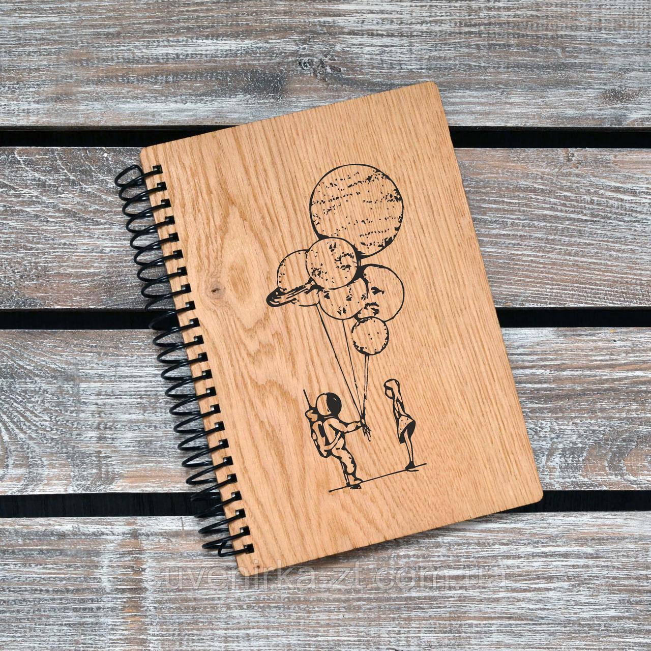 Блокнот с деревянной обложкой. Формат А5. Сменный блок. (А00420)
