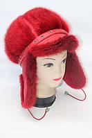 Женская шапка ушанка из меха ондатры RED