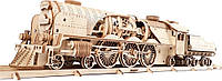 Механический 3D пазл UGEARS Локомотив с тендером V-Экспресс (70061)