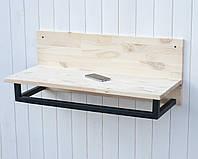 Полка в стиле лофт с натурального дерева сосна 75х31.5х30 см для кухни или комнаты