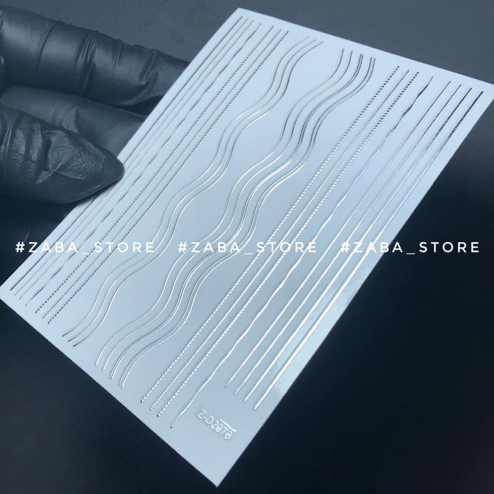 3D Ленты гибкие наклейки микс полосок-волн серебро