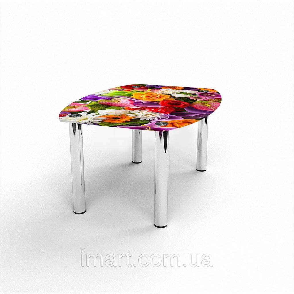 Журнальный стол Бочка Flowers стеклянный
