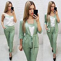 Костюм тройка женский стильный - брюки, майка и кардиган с поясом   арт 165 зеленый / мята