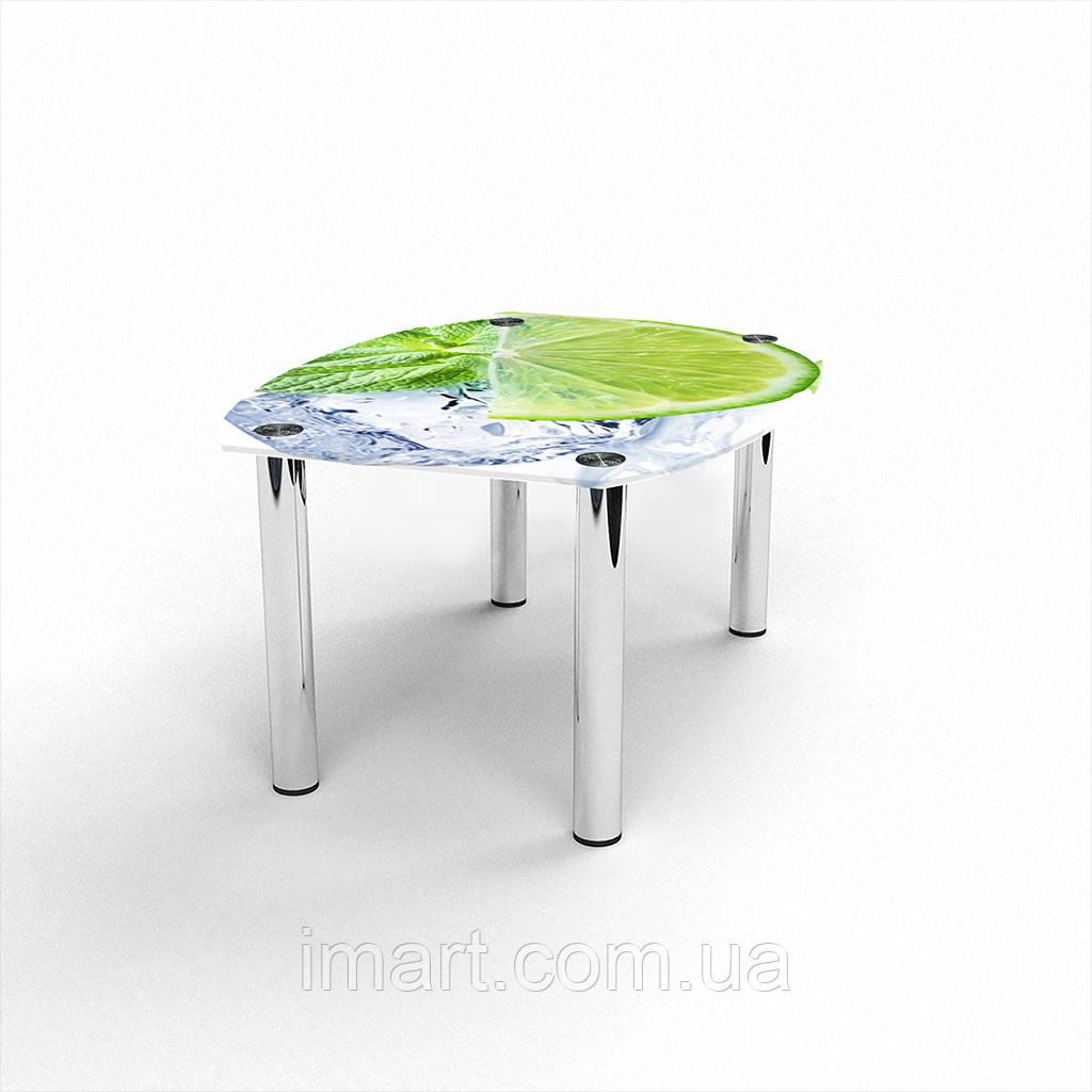 Журнальный стол Бочка Ice lime стеклянный