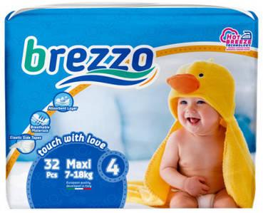 Підгузки дитячі преміум класа Brezzo maxi 4 (7-18 кг) 32 шт.