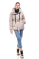 Лёгкая стильная женская куртка пуховик под пояс дутик евро зима бежевого цвета, размер 42-50
