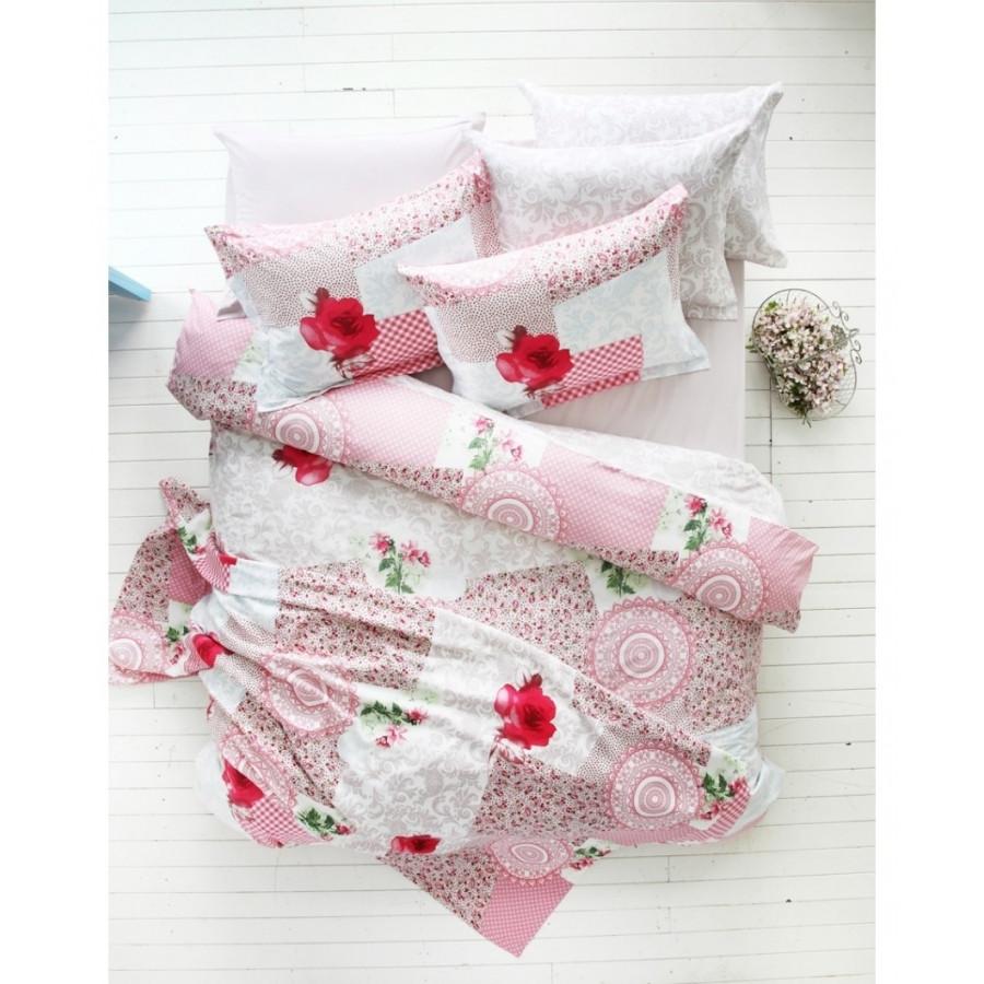 Постельное белье Karaca Home ранфорс - Piaf розовый полуторное