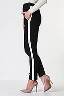 Женские брюки лосины стрейч котон черные с лампасом VS 1023