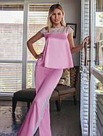 Утонченная шелковая пижама. Женская одежда для дома. Женское белье