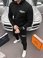 Мужской зимний черный спортивный костюм с капюшоном