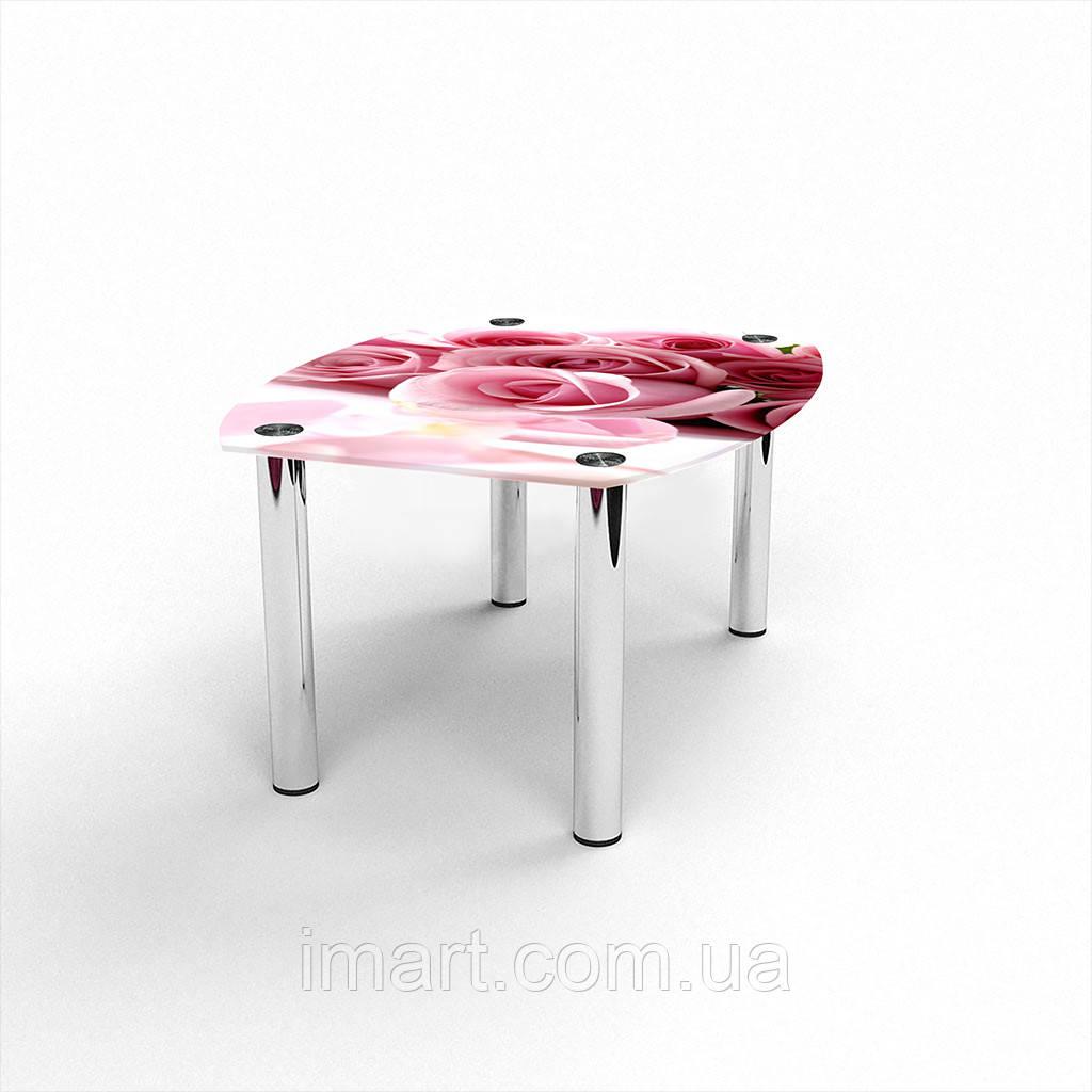 Журнальный стол Бочка  Pink Roses стеклянный