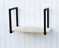 Полка в стиле лофт с натурального дерева сосна 60х35х35 см
