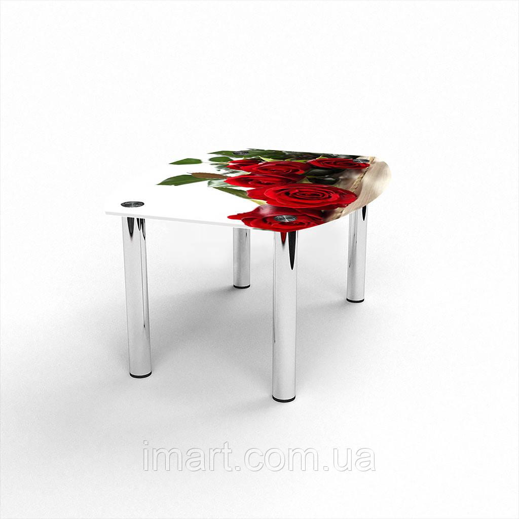 Журнальный стол Бочка Red Roses стеклянный