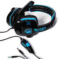 Наушники с микрофоном Sades SA708 Blue (Закрытые, микрофон, регулятор громкости)