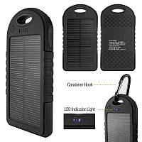 Внешний аккумулятор Powerbank 5000mAh Black с солнечной батареей