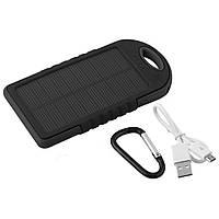 Внешний аккумулятор Powerbank 12000mAh Black с солнечной батареей