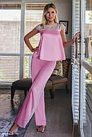 Женская розовая шелковая пижама с кружевом  XS S M L, фото 1
