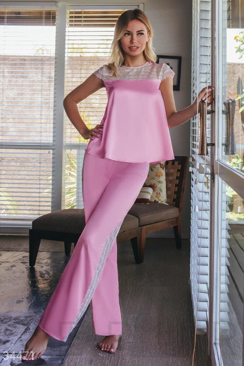 Женская розовая шелковая пижама с кружевом  XS S M L