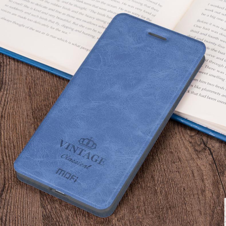Чехол книжка Mofi Vintage для Xiaomi Redmi Note 8 Синий