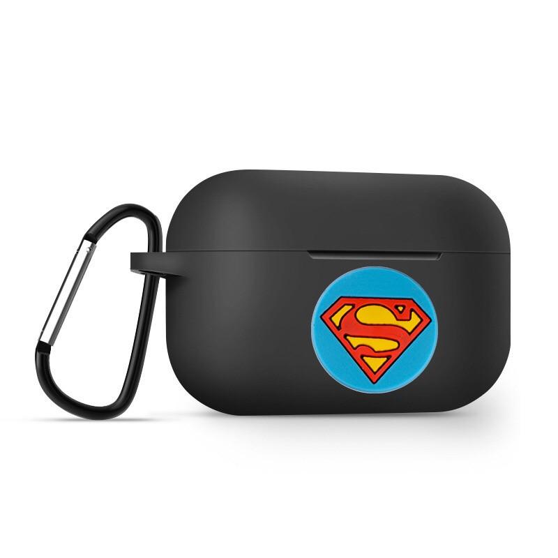 Силиконовый чехол с супергероями IQEA для наушников Apple AirPods Pro Цвет чёрный Супермен