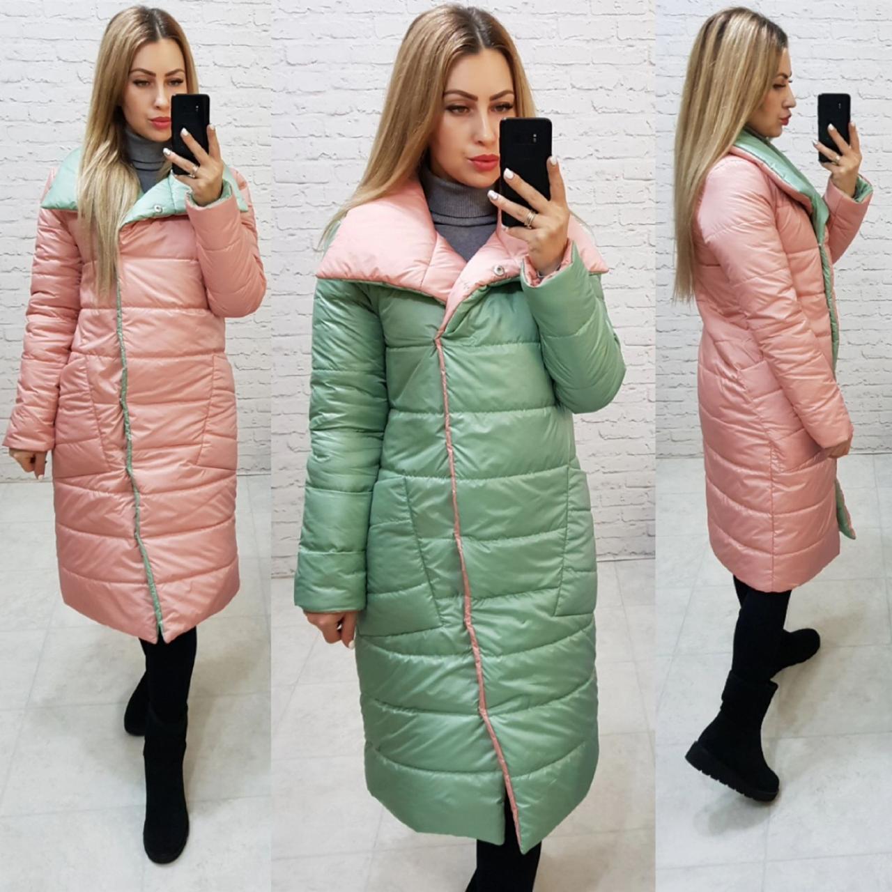 Куртка двухстороняя евро-зима арт. 1006 мята/пудра