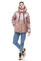 Стильная демисезонная весенняя женская куртка с поясом и капюшоном цвет мокко, размер 42-50