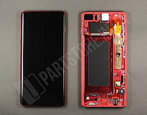 Дисплей Samsung g975 Red s10+ (GH82-18849H) сервисный оригинал в сборе с рамкой, фото 2