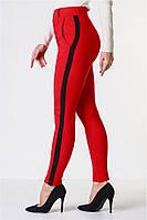 Женские брюки лосины стрейч котон красные с лампасом VS 1023, фото 1