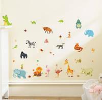 """Детские наклейки """"Животные"""" - размер наклейки 30*60см (расклеивать можно по-желанию)"""
