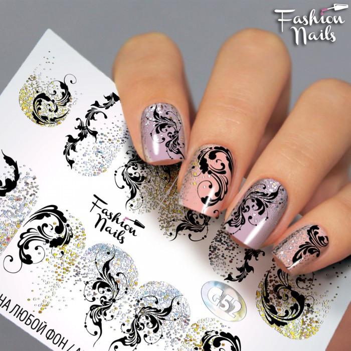 Слайдер-дизайн Fashion nails - наклейка на нігті - мереживо, вензелі, візерунки