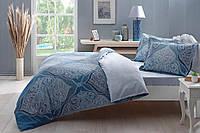 TAC Евро комплект постельного белья сатин Vales mavi