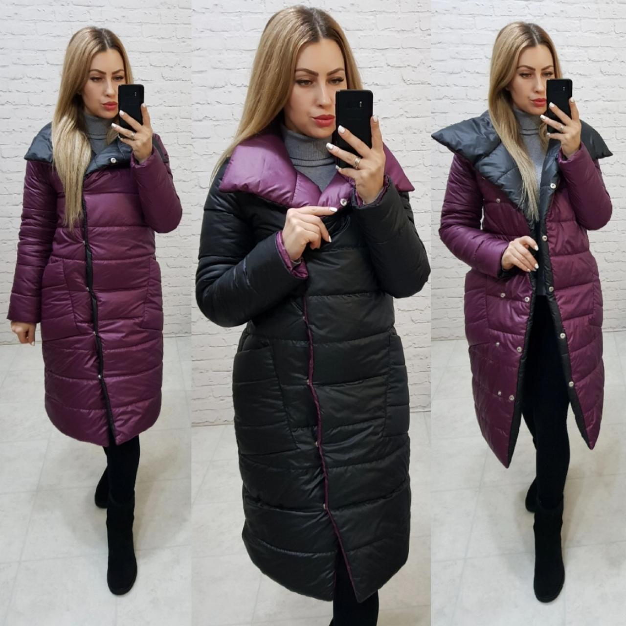 Куртка двухстороняя евро-зима арт. 1006 черный /марсала