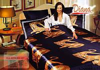 Комплект постельного белья Атласный Diana Tiger простынь на резинке