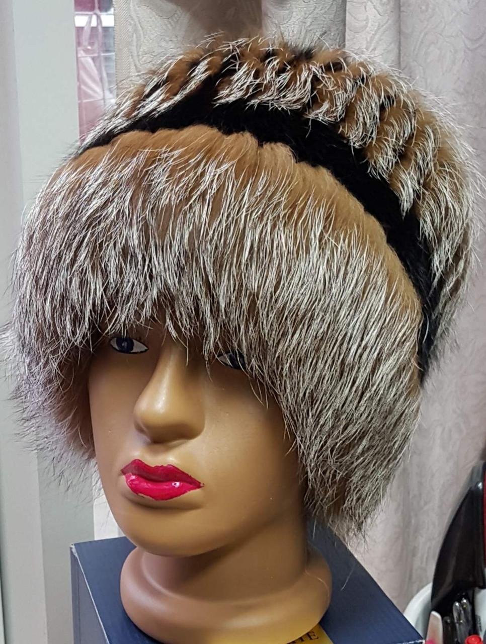 Жіноча шапка з хутра чорнобурки барбара голд
