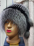 Жіноча шапка з хутра чорнобурки барбара голд, фото 2