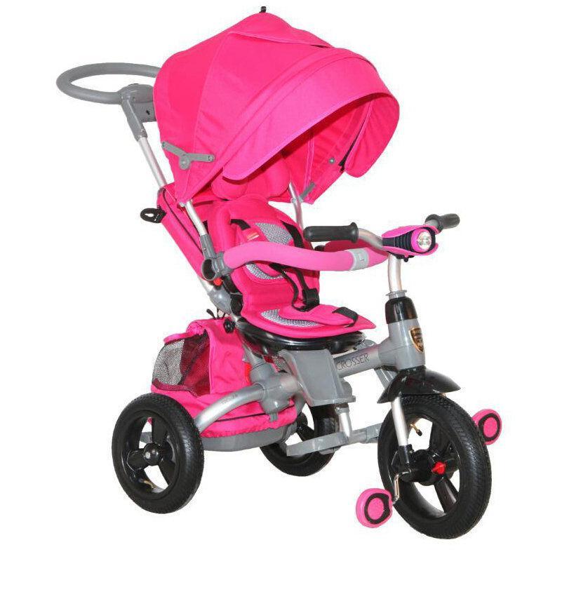 ⏩ Детский трехколесный велосипед-коляска Modi Crosser T-500 AL TRANSFORMER розовый