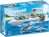 Набор Playmobil 6981 Катер с дайверами и дельфины конструктор