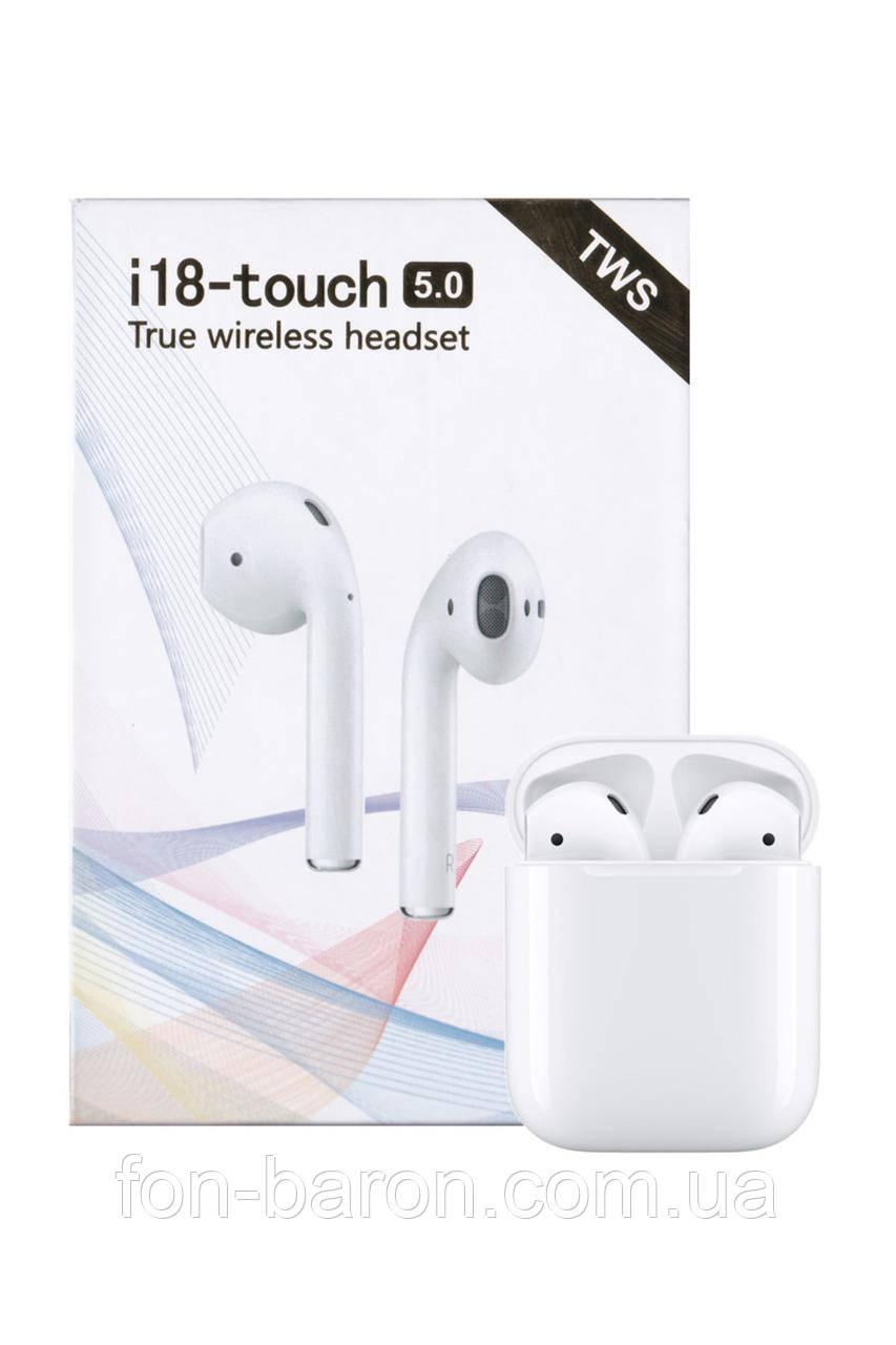 Наушники беспроводные Bluetooth i18-Touchс TWS с кейсом Power Bank